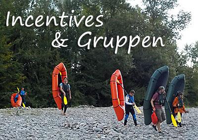 Kanufahrten und Packrafting für Gruppen, Incentives und Teambuilding mit der Kanuschule-Schweiz